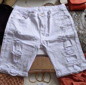 Pants - High Waist Distressed Jean Shorts